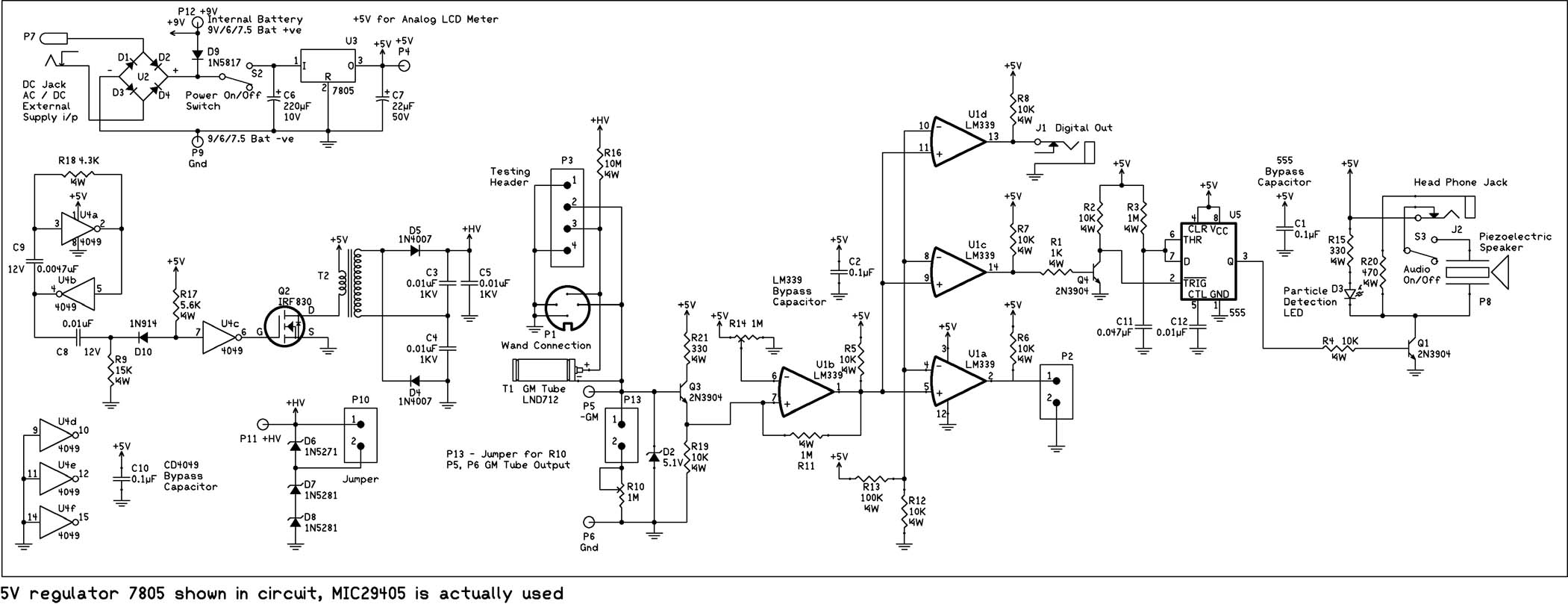 geiger counter schematics - diy geiger counter