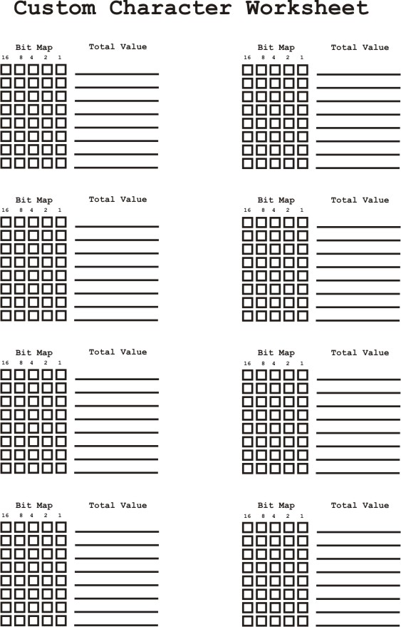 Serial LCD Display Page 6 of 6 – Creating a Character Worksheet