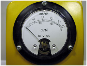 CDV-700 Close up showing the mr/hr meter