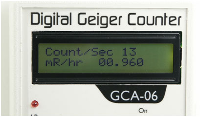 GCA-06 Digital Geiger Counter Close up of Digital Meter