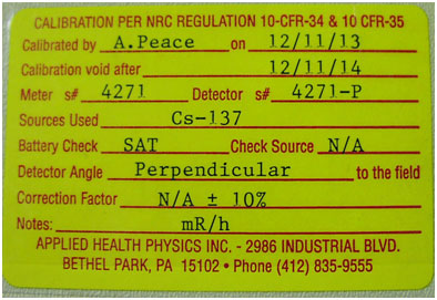 NRC Certification label for Geiger Counter