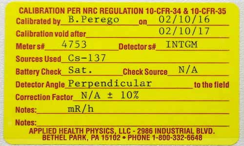 NRC Calibration Certification -  Geiger Counter