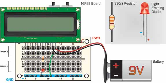 16F88 PIC project board and solderless breadboard