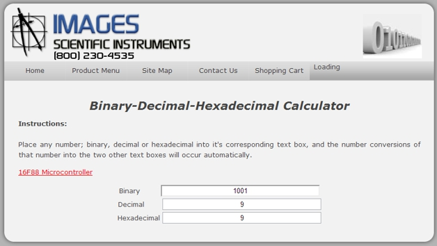binary-decimal-hexadecimal page screen image