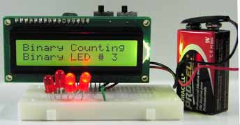 binary counting with LCD display